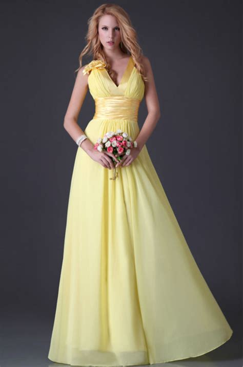 Yellow Evening Gowns Wedding by Princess Sweet Yellow Chiffon Floor Length A Line Evening