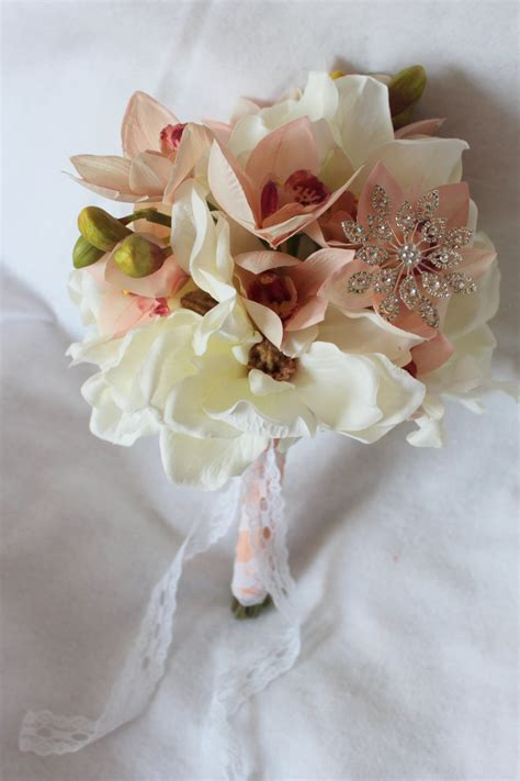 soft yellow red cymbidium silk orchids floral arrangment silk wedding flowers and bouquets online love is blooming