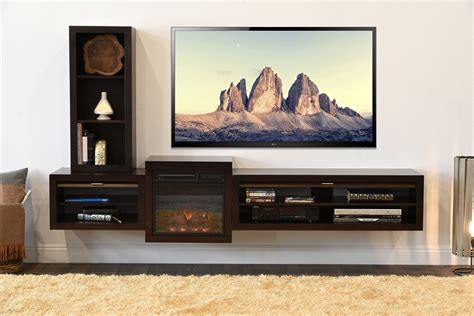 Floating Tv Stand Living Room Furniture Cabinet Wood Floating Tv Stand With Modern Fireplace Eco And Beige Shag Rugs On