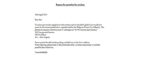 Business Letter Request For Quotation request for quotation for crockery business letter exles