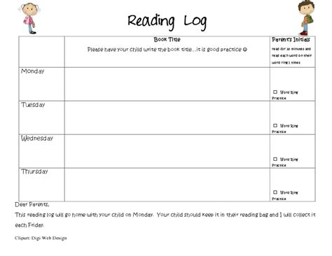 reading logs mrs wills kindergarten