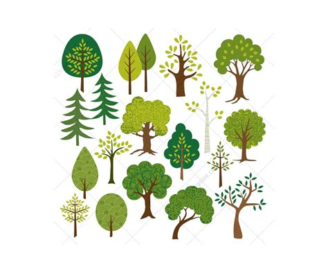 tree vector flat trees and leaves vector pack contains various tree
