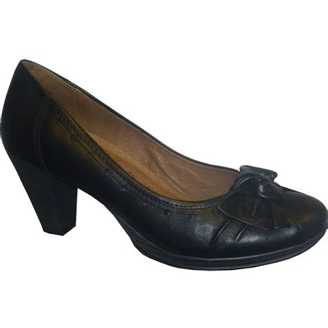 black leather court shoe with low platform chunky heel