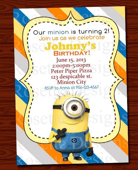printable minion invitation template 29 best images about minion birthday party on pinterest