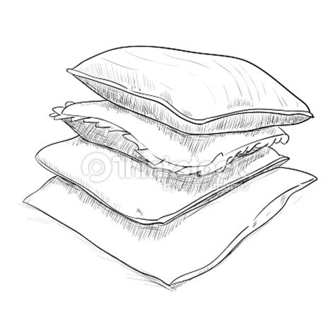 bettdecke gezeichnet sketch of pillows vector thinkstock