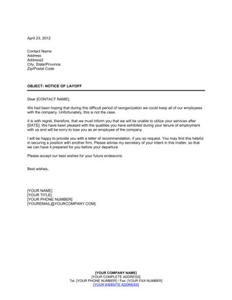letter to employees after layoff just b cause