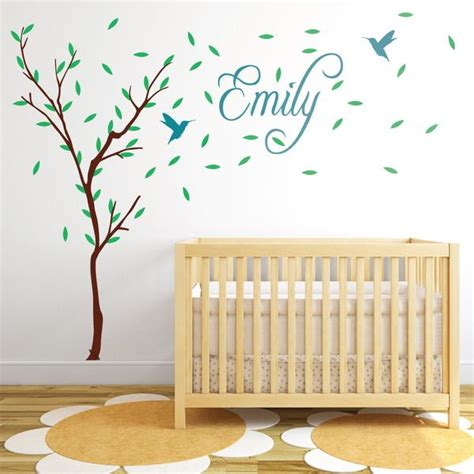 childrens personalised wall stickers childrens tree with personalised name and birds wall