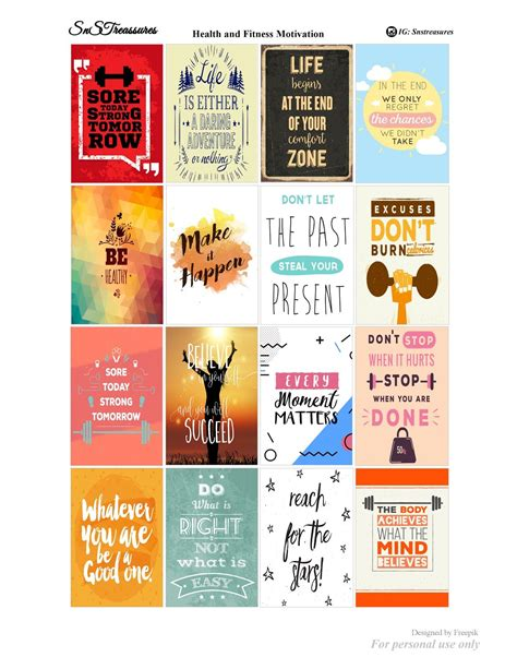 free printable workout planner stickers free motivational health and fitness planner stickers