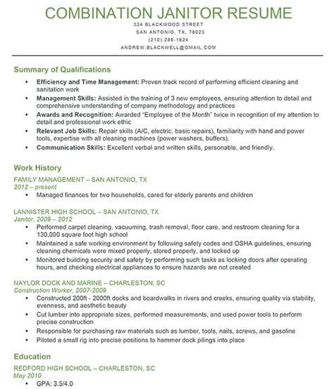 Janitor Resume by Janitor Combination Resume