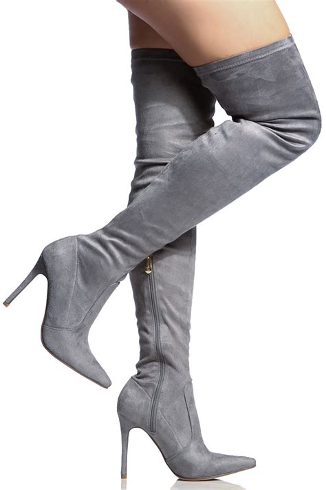 grey faux suede thigh high pointed toe boots cicihot