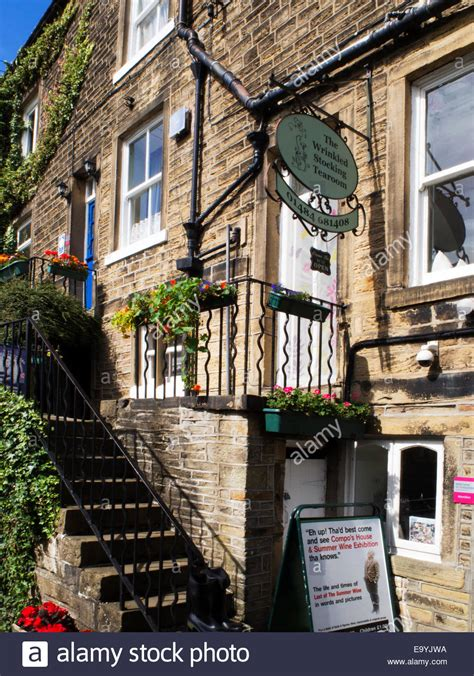 houses to buy holmfirth the wrinkled stocking tearoom at holmfirth yorkshire which was nora stock photo