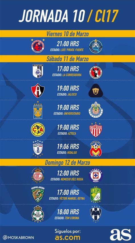 Calendario Liga Mx Jornada 10 Fechas Y Horarios De La Jornada 10 Clausura 2017 De La