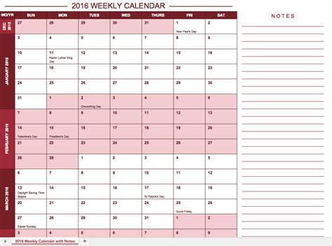 calendar notes template free excel calendar templates