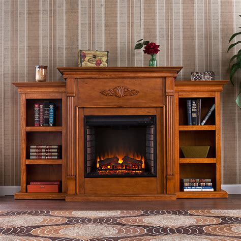 tennyson electric fireplace media console in glazed pine