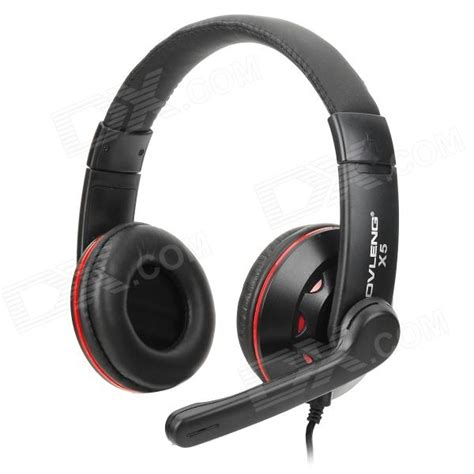 Headset Computer ovleng x5 headphones headset w microphone for computer black 3 5mm 1 85m