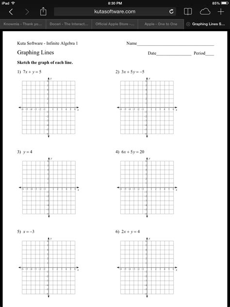 Graphing Linear Equations In Standard Form Worksheet