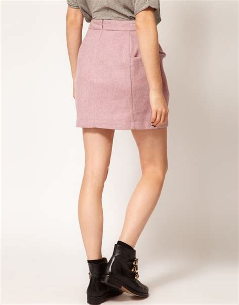 Origami Mini Skirt - asos collection asos fluffy origami mini skirt in pink lyst