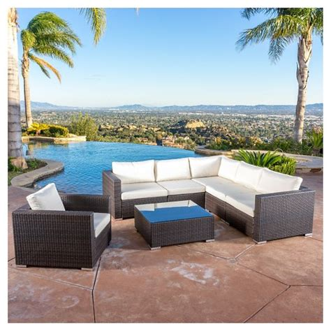 santa rosa 7pc wicker seating sectional set with cushions