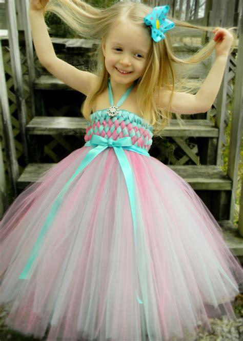 Dress Pink Tutu Flower pink flower tutu dress with light blue ribbonwedwebtalks wedwebtalks