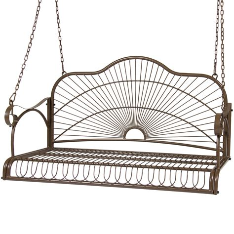 swing iron bcp iron patio hanging porch swing chair bench seat