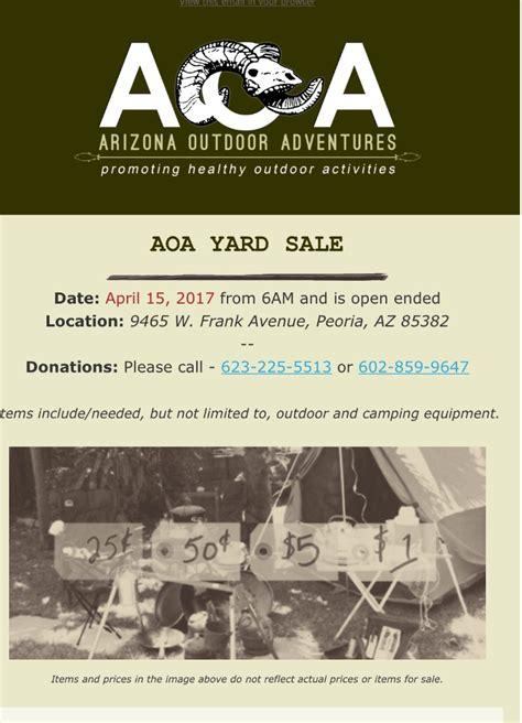 az outdoor adventures yard sale classified ads