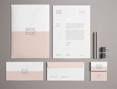 free high solution pink branding stationery mockup psd
