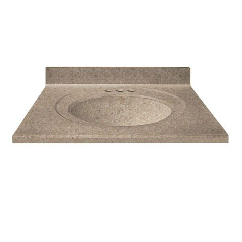 us marble 37 in cultured granite vanity top in brown sugar color with integral backsplash and