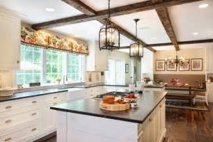 Banister Design Ideas Lantern Pendant Light Kitchen Traditional With Beams Bench