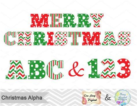 christmas alphabet digital clip art red green christmas color