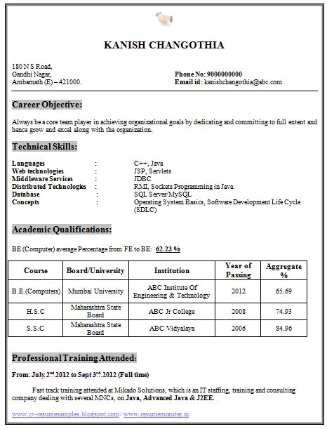 Resume Format Computer Engineers Freshers resume computer engineer fresher photos resume