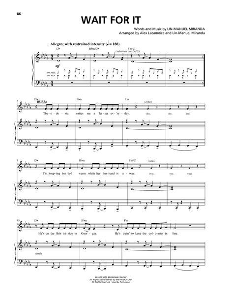 printable hamilton lyrics wait for it from hamilton sheet music by lin manuel