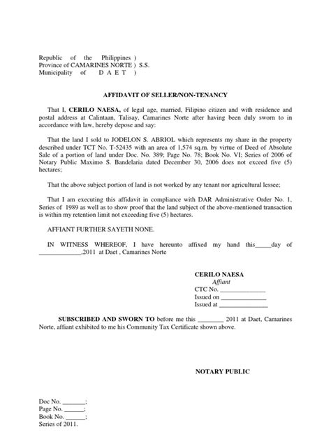 certification letter for a tenant affidavit of seller non tenancy