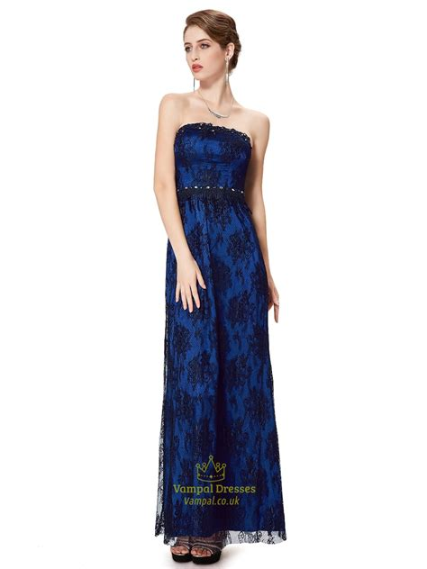 Dress Black Blue royal blue and black strapless lace prom dress with beaded