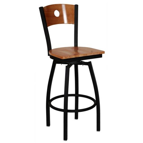 wood swivel bar stools with backs furniture blck iron swivel stool with brown wooden seat