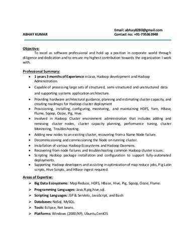 hadoop developer resume sle resume for hadoop fresher resume ixiplay free