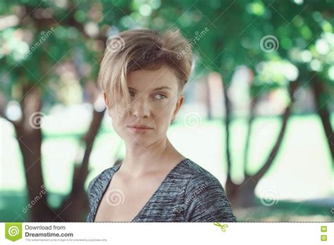 caucasions beliefs on short hair portrait of middle aged woman closeup stock photo