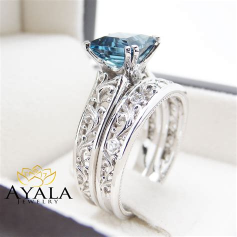Blue Topaz Set Ring blue topaz engagement ring set princess cut topaz