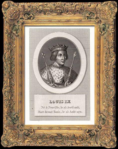 Charliee 1215 Original antique prints portrait of louis ix 1215 1270