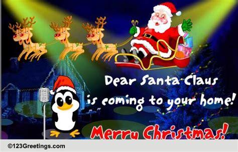santa claus  coming  carols ecards greeting cards