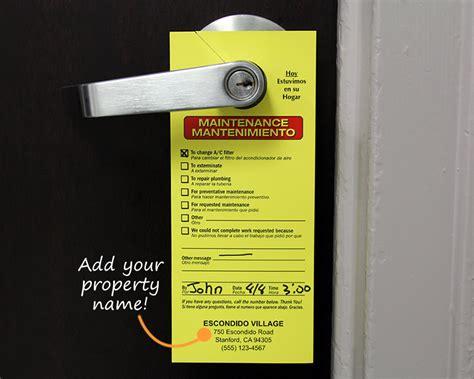 maintenance door hanger template maintenance door hangers add your name or in stock designs