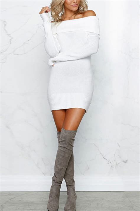 white  shoulder long sleeve sexy sweater dress