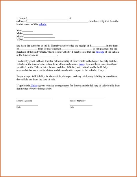 used car purchase agreement template vehicle sales agreement general resumes