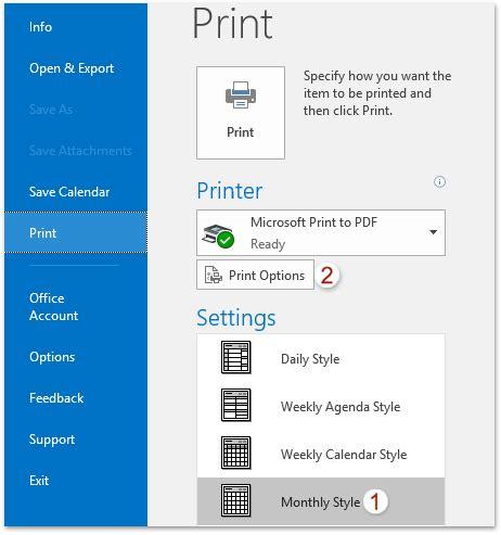 printed font size outlook에서 더 크거나 작은 글꼴 크기로 캘린더를 인쇄하는 방법은 무엇입니까