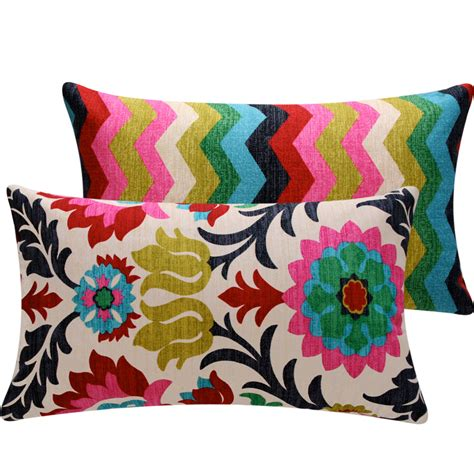 Colorful Floral Chevron Throw Pillow Cover By
