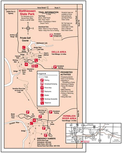 starved rock map matthiessen state park hiking trail illinois visions