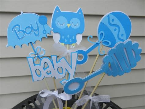 Table Centerpieces For Baby Shower by Baby Shower Table Decoration Centerpiece Owl Soft Blues