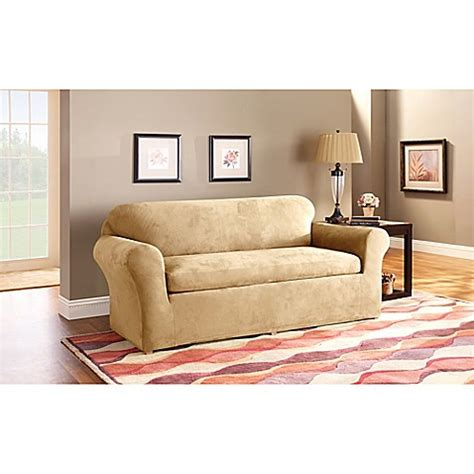 sure fit stretch suede sofa slipcover sure fit 174 stretch suede 3 piece sofa slipcover bed bath