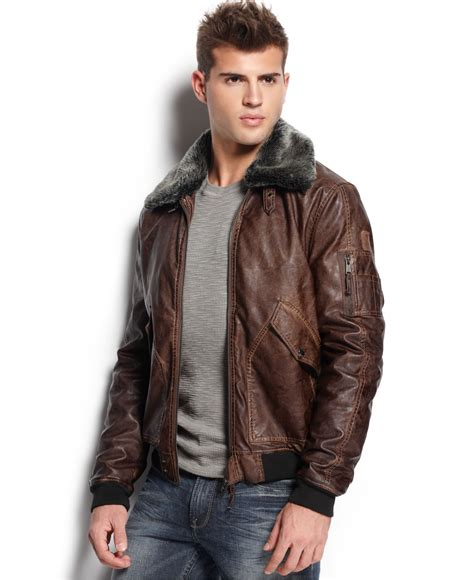 Jaket Hondie Guees lyst guess faux leather aviator jacket in brown for