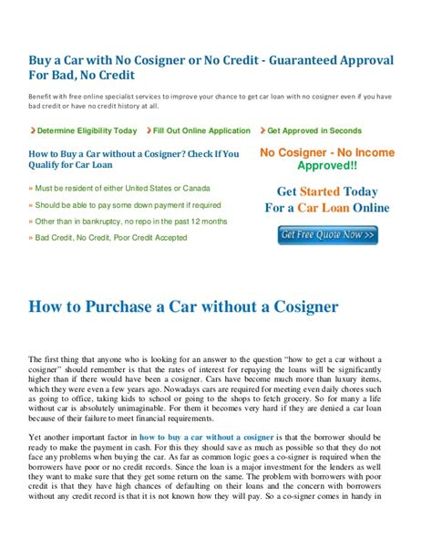 how to buy a house without a loan how to buy a car without a cosigner