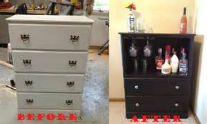 dresser converted into a bar for an apartment craft